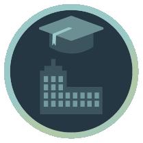 Icon mit Absolventen-Kappe und Gebäude zur Darstellung der Inhouse-Seminare