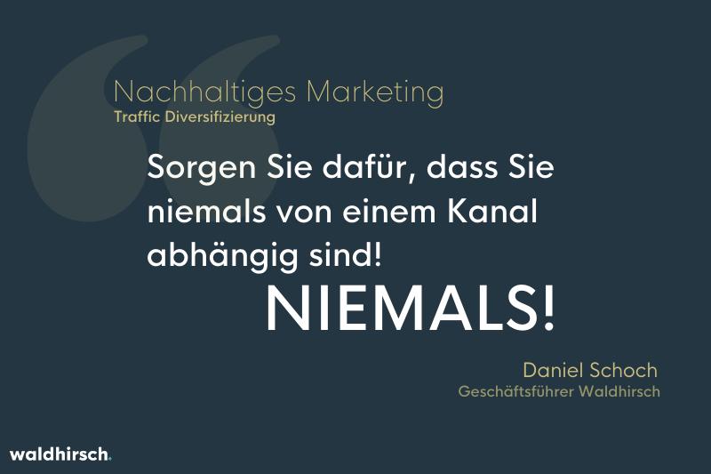 Grafik mit Zitat zum nachhaltigen Marketing von Daniel Schoch