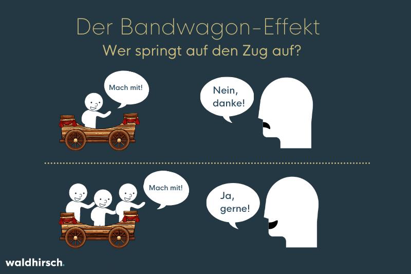 Grafik zur Illustration des Bandwagon-Effekts - Personen auf einem Zirkuswagen