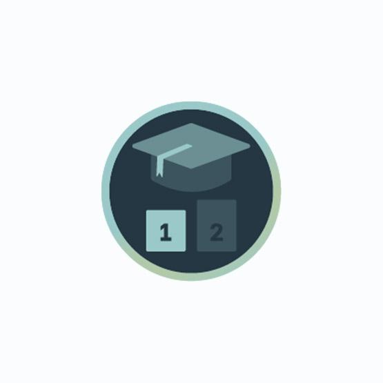 Icon mit Absolventen-Kappe und der Nummer 1 zur Darstellung von Anfänger-Seminaren