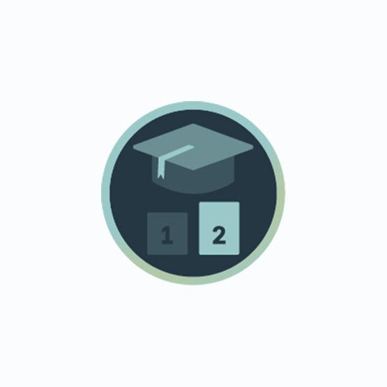 Icon mit Absolventen-Kappe und der Nummer 2 zur Darstellung von Fortgeschrittenen-Seminaren