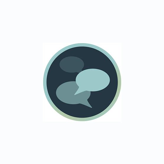 Icon mit Sprech-Blasen zur Darstellung von persönlichen Workshops