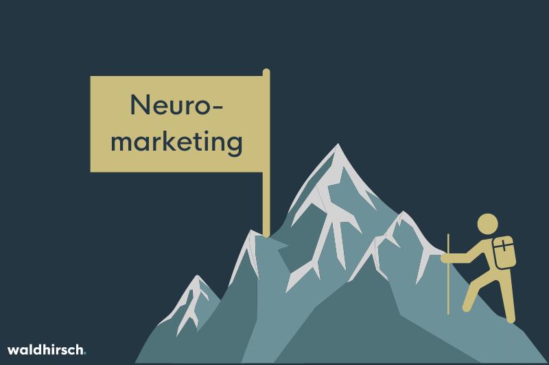 Grafik zur Darstellung der Wichtigkeit von Neuromarketing: Ein Berg mit Fahne