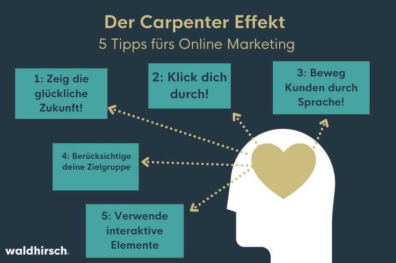 Bild mit 5 Tipps zur Umsetzung vom Carpenter Effekt im Marketing