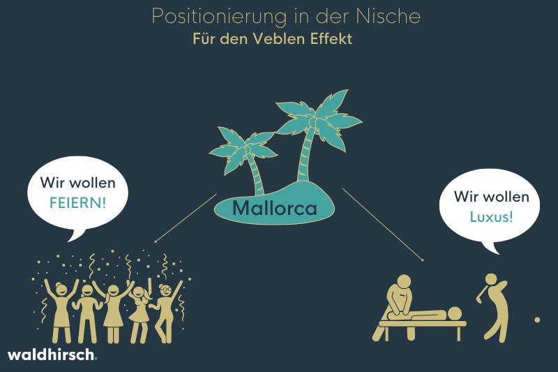 Grafik mit einer Insel und zwei unterschiedlichen Zielgruppen zur Darstellung von Nischen-Positionierung