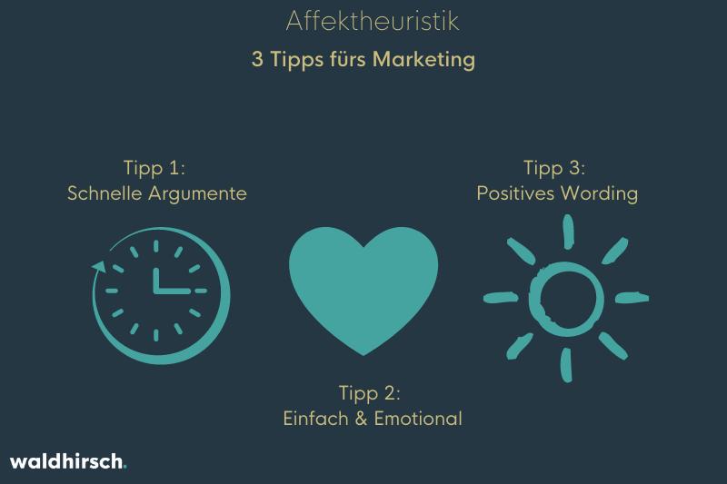 Ein Bild mit einer Uhr, einem Herzen und einer Sonne zur Darstellung der 3 Tipps der Affektheuristik