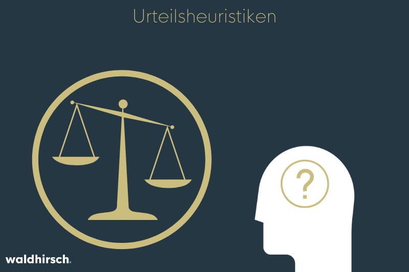 Grafik mit einem Fragezeichen in einem Kopf und einer Waage zur Darstellung von Urteilsheuristiken
